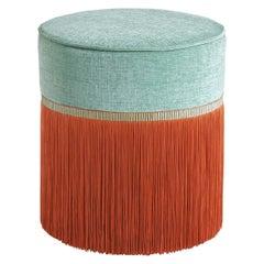 Mint and Orange Couture Geometric Bicolor Pouf