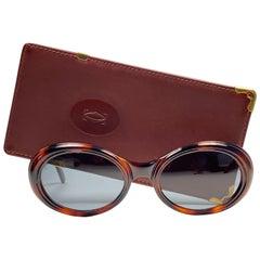 Mint Cartier Frisson Tortoise 8k Gold Plated Accents 1990 Sunglasses 53mm France