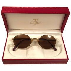 Mint Cartier Oval Gold Manhattan 51mm Frame18k Plated Sunglasses France