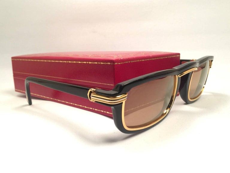 Women's or Men's New Cartier Vertigo Gold and Black 52MM Sunglasses France, 1991 For Sale
