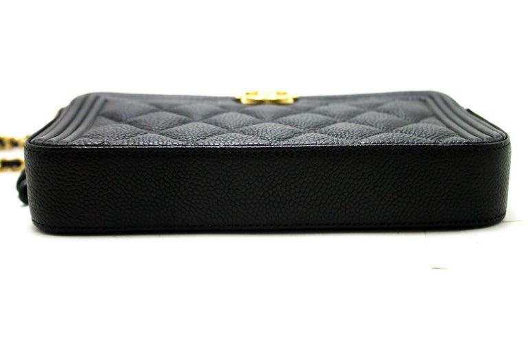 b5e6d9cb45ec CHANEL Boy Black Caviar WOC Wallet On Chain Zip Shoulder Bag For Sale 2