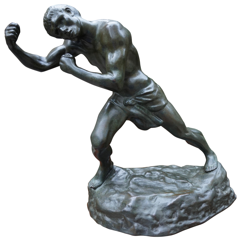 Mint Condition Heavy Bronze Boxer / Price Fighter Sculpture by Jef Lambeaux