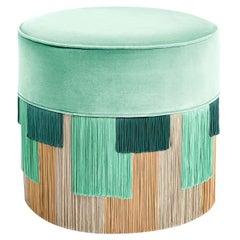 Mint Couture Geometric Stripe Pouf