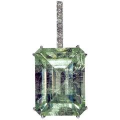 Mint Emerald Diamond Necklace 14K Gold Natural Green Gemstone Christmas Pendant