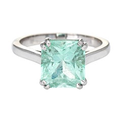 Mint Green 4ct Emerald Ring Gemstone Engagement 14k White Gold Estate Jewelry