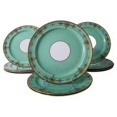 Mint Green Dessert Plates, Set of 11 Antique England with Enamel Decoration