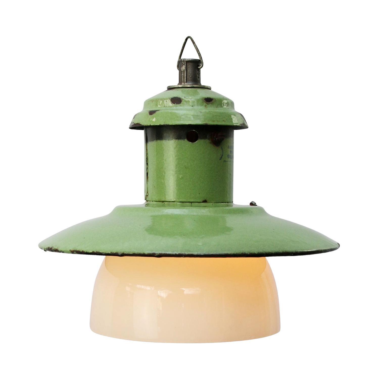 Mint Green Enamel Vintage Industrial Opaline Glass Pendant Lights