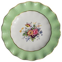 Mint Green Floral Bone China Plate by Royal Crown Derby, England, 1950s