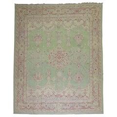 Mint Green Room Size Antique Turkish Oushak Carpet, 20th Century