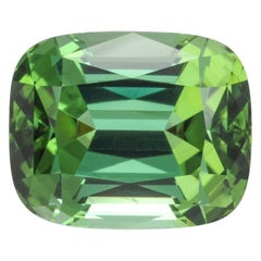 Green Tourmaline Ring Gem 11.23 Carat Cushion