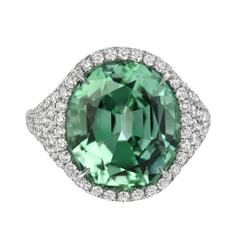 Contemporary Natural Green Tourmaline Ring Oval 10.40 Carats For Sale