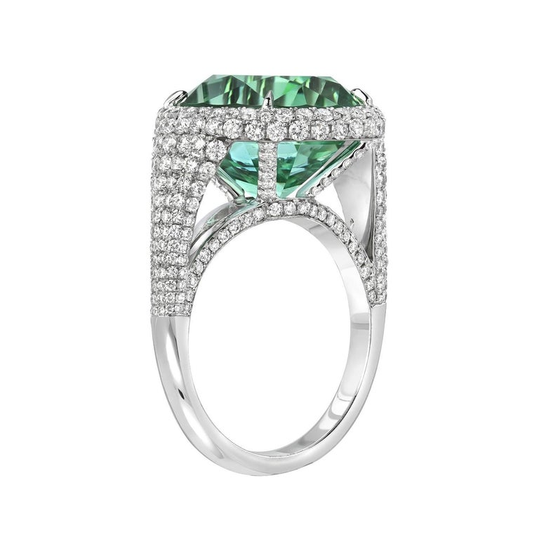 Oval Cut Natural Green Tourmaline Ring Oval 10.40 Carats For Sale