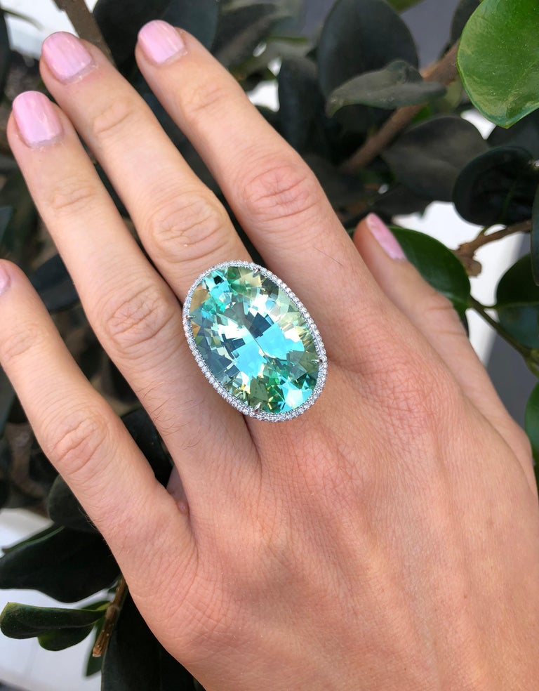 Natural Green Tourmaline Ring 33.85 Carats DSEF Certified Unheated For Sale 5