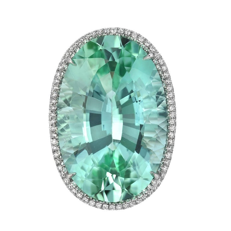 Contemporary Natural Green Tourmaline Ring 33.85 Carats DSEF Certified Unheated For Sale