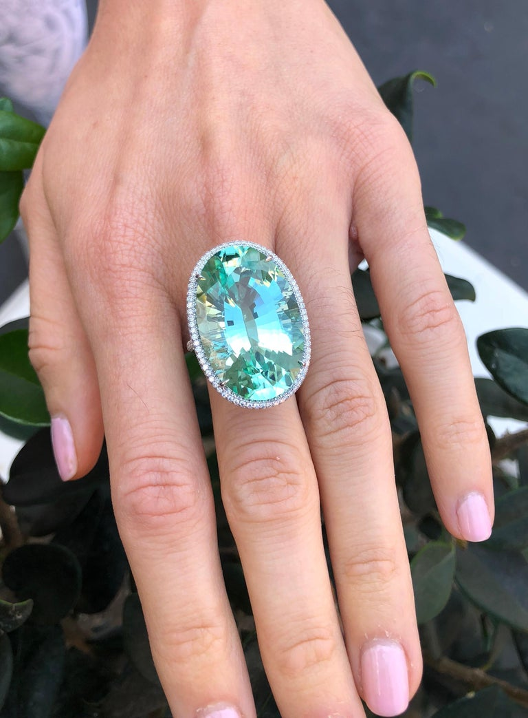 Women's Natural Green Tourmaline Ring 33.85 Carats DSEF Certified Unheated For Sale