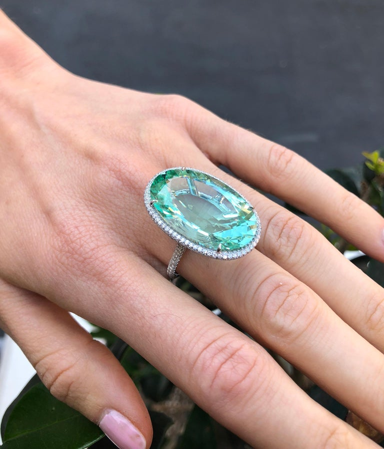 Natural Green Tourmaline Ring 33.85 Carats DSEF Certified Unheated For Sale 1