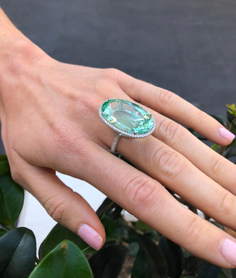 Natural Green Tourmaline Ring 33.85 Carats DSEF Certified Unheated For Sale 2