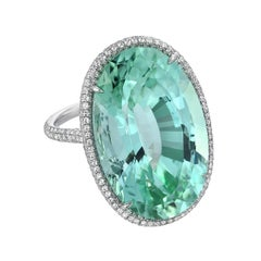 Green Tourmaline Diamond Platinum Ring Oval 33.85 Carat Natural Unheated