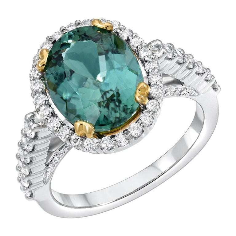 Green Tourmaline Ring Oval 4.48 Carats For Sale