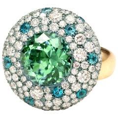 Mint Green Tourmaline, Paraiba and Diamond Rose Gold and Titanium Ring