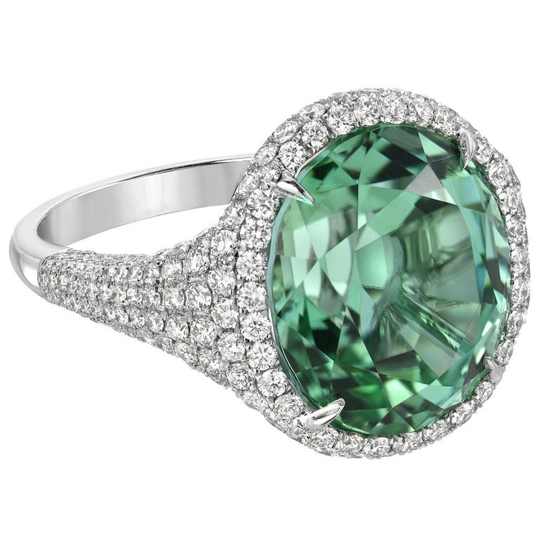 Green Tourmaline Ring 10.40 Carat Oval For Sale