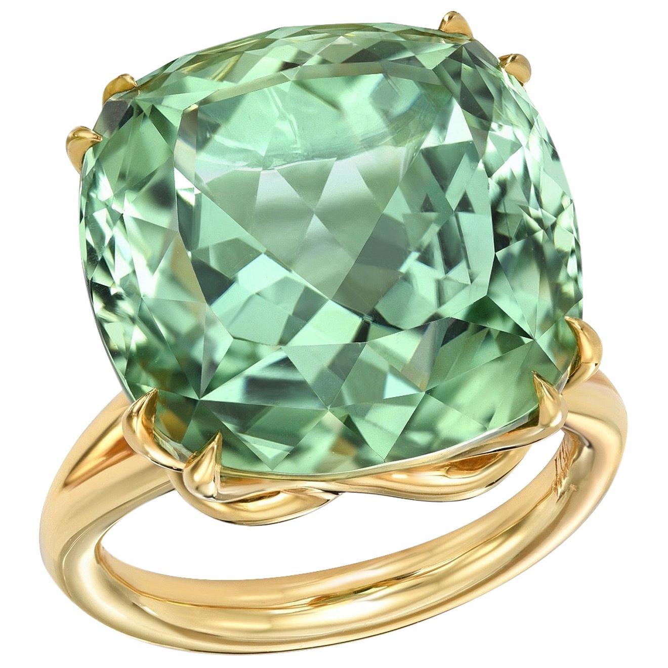 Mint Green Tourmaline Ring 18.04 Carat