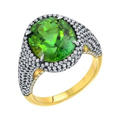 Mint Green Tourmaline Ring 5.40 Carat Oval