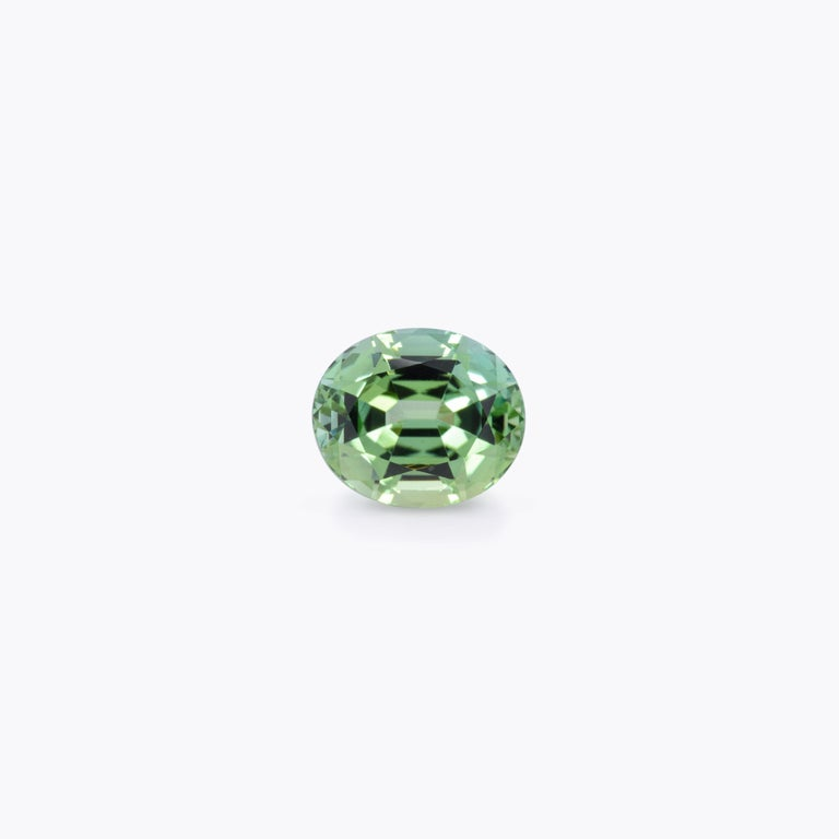 Modern Mint Green Tourmaline Ring Gem 3.63 Carat Unset Oval Loose Gemstone For Sale