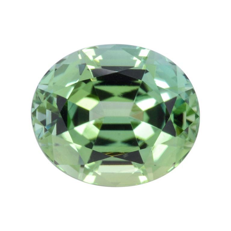 Mint Green Tourmaline Ring Gem 3.63 Carat Unset Oval Loose Gemstone