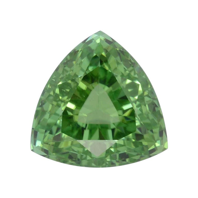 Mint Green Tourmaline Ring Gem 6.48 Carat Trillion Loose Gemstone For Sale