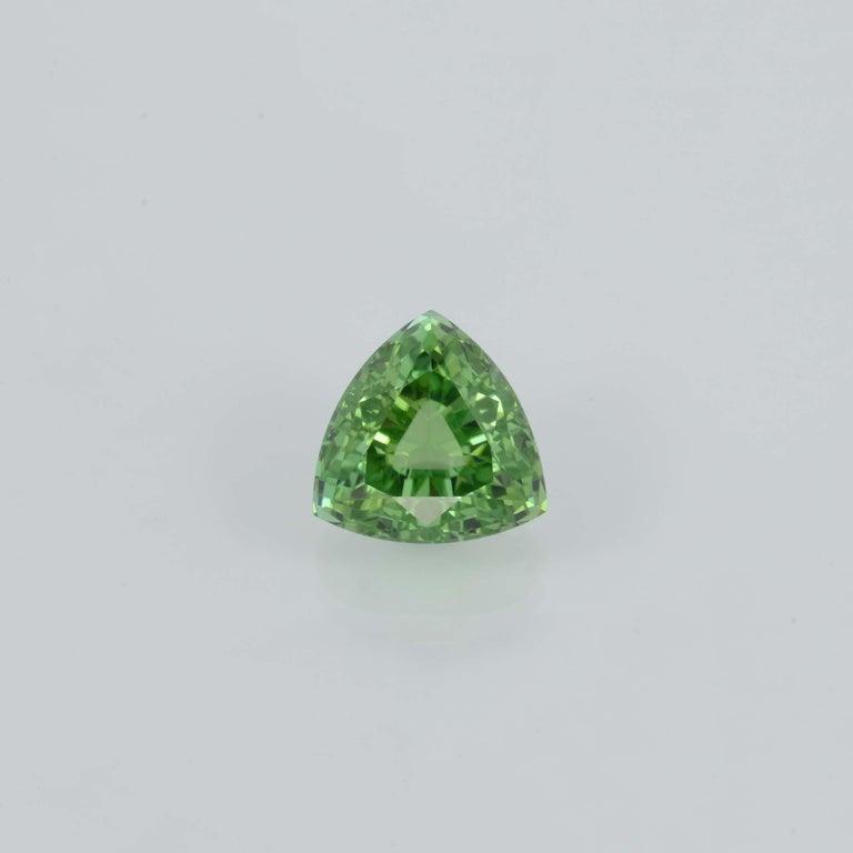 Trillion Cut Mint Green Tourmaline Ring Gem 6.48 Carat Trillion Loose Gemstone For Sale