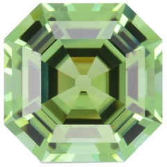 Mint Green Tourmaline Ring Gem 7.47 Carat Asscher Cut