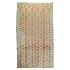 Mint Green Vintage Turkish Anatolian Deco Checkerboard Rug