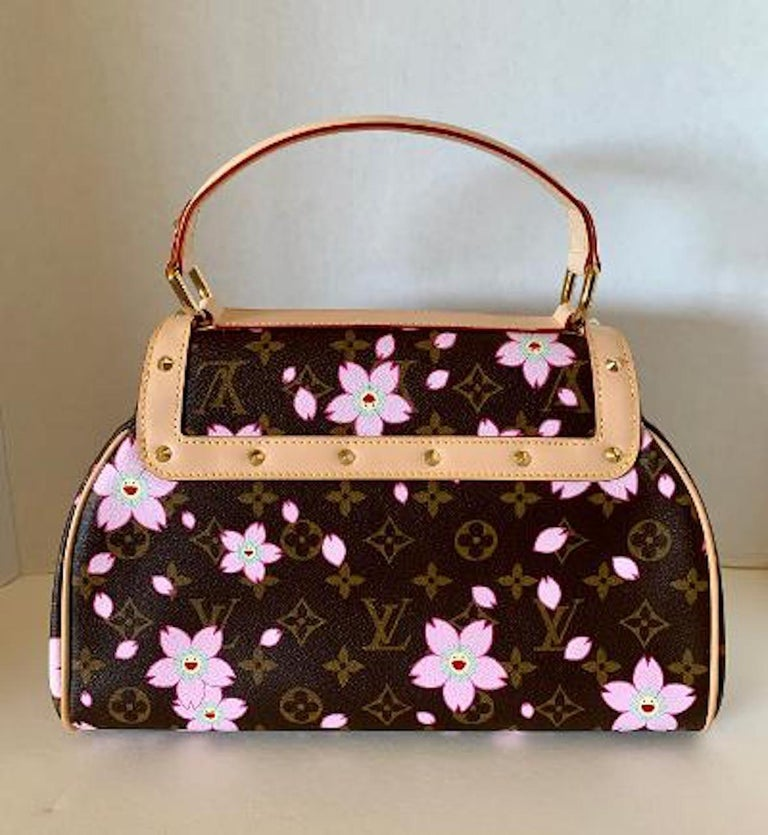 Black Mint Louis Vuitton Takashi Murakami Limited Edition Retro Cherry Blossom Purse  For Sale