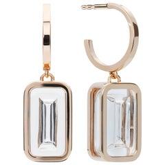 Mint Pfefferminz Hoops, 14 Karat Yellow Gold Carved Rock Crystal Earrings