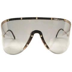 Mint Porsche Design 5620 Gold & Grey Vintage Shield Yoko Ono Sunglasses, 1980s