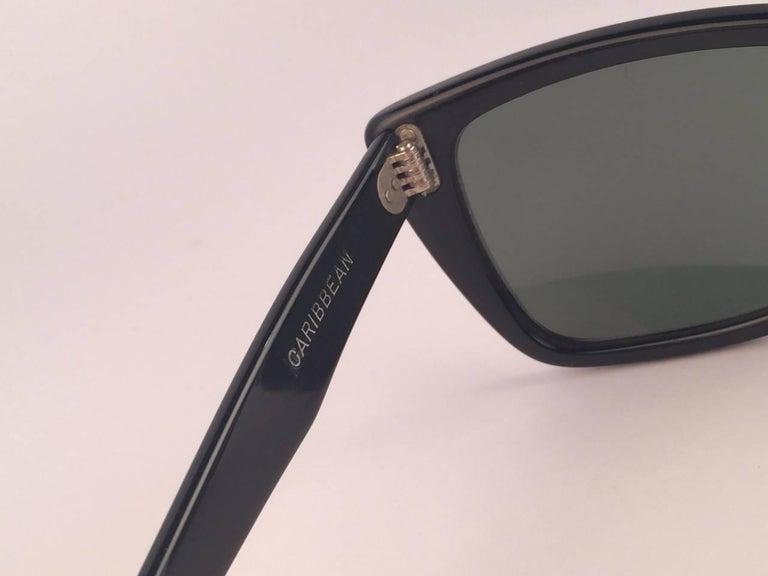 Mint Ray Ban Caribbean 1960's Mid Century Black G15 Lenses B&L USA Sunglasses For Sale 1