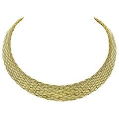 Mint Roberto Coin 18 Karat Yellow Gold Graduated Woven Silk Mesh Chain Necklace
