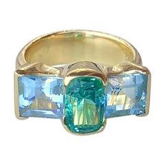 Mint Tourmaline and Square-Cut Aquamarine Set in 18 Karat Gold