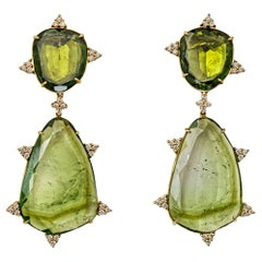 Mint Tourmaline, Diamond and 18 Karat Gold Earrings