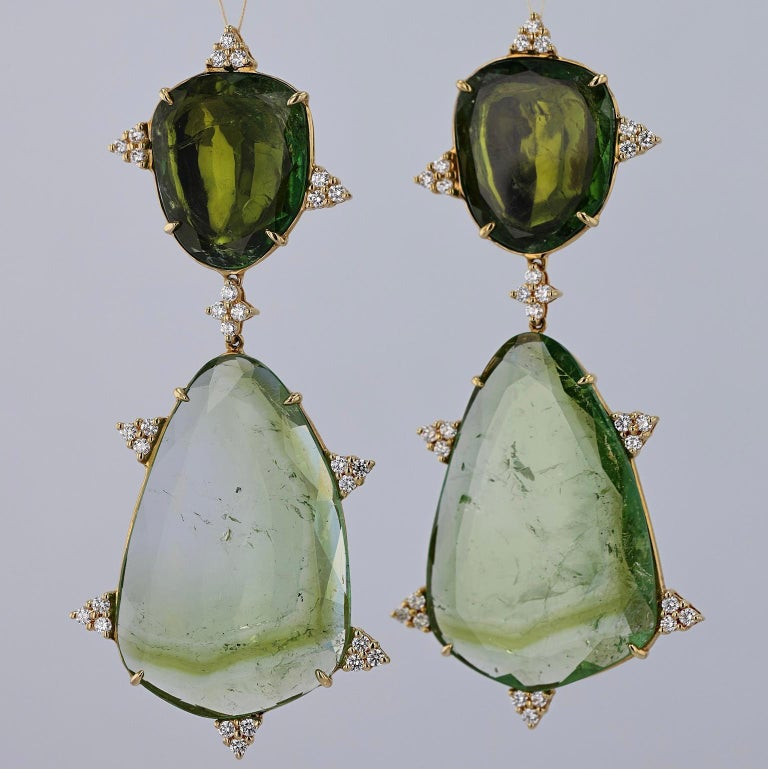 Women's or Men's Mint Tourmaline, Diamond and 18 Karat Gold Earrings For Sale