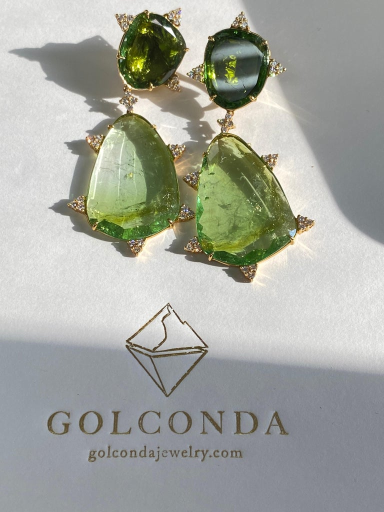Mint Tourmaline, Diamond and 18 Karat Gold Earrings For Sale 1
