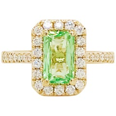 Mint Tsavorite Garnet and Diamond Halo Engagement Ring 2 Carat 14 Karat Gold