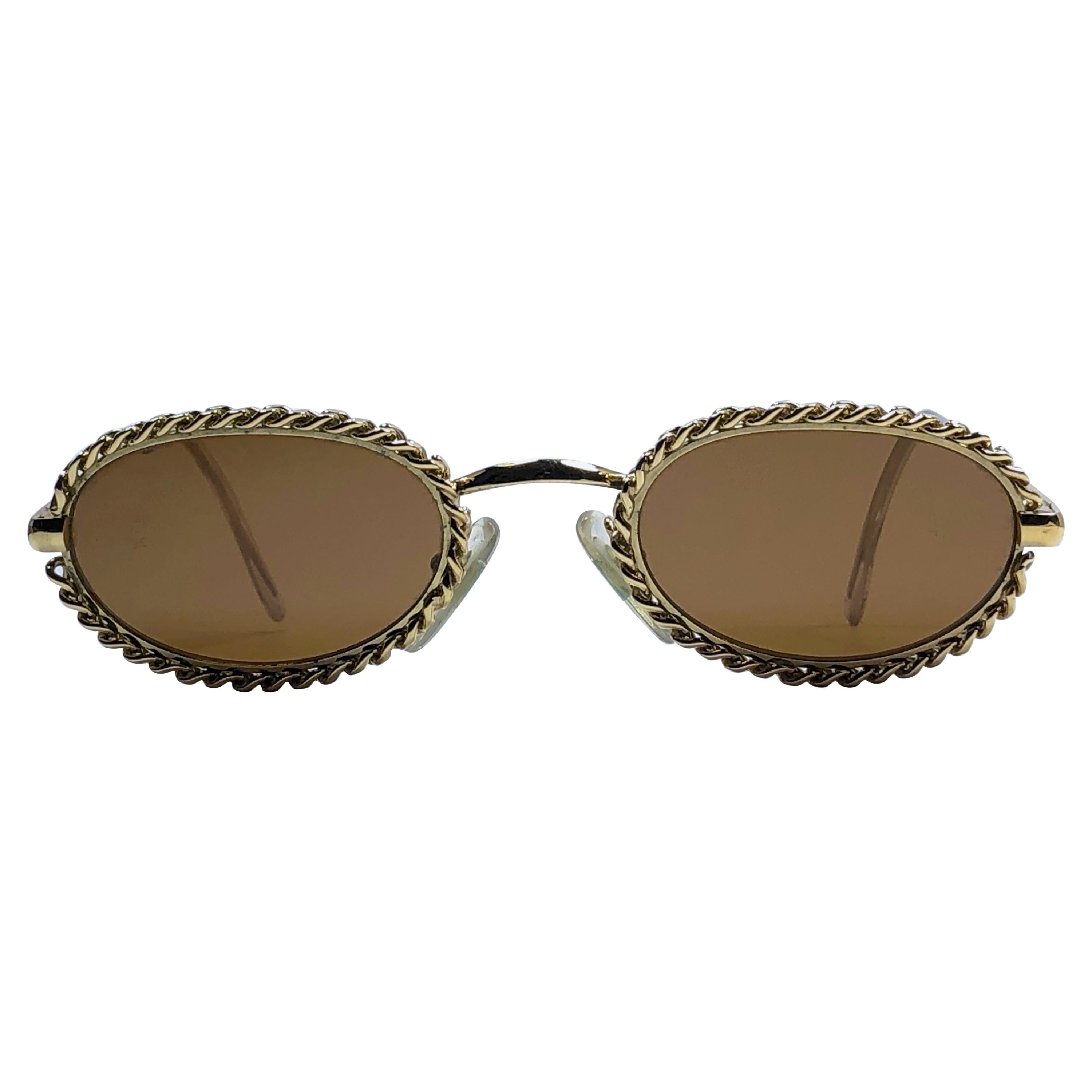 Mint Vintage Moschino Oval Gold Chain 1990 Sunglasses Made in Italy