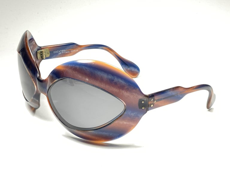 Gray Mint Vintage Pierre Marly Cocktail Oversized Avantgarde 1960's Sunglasses For Sale