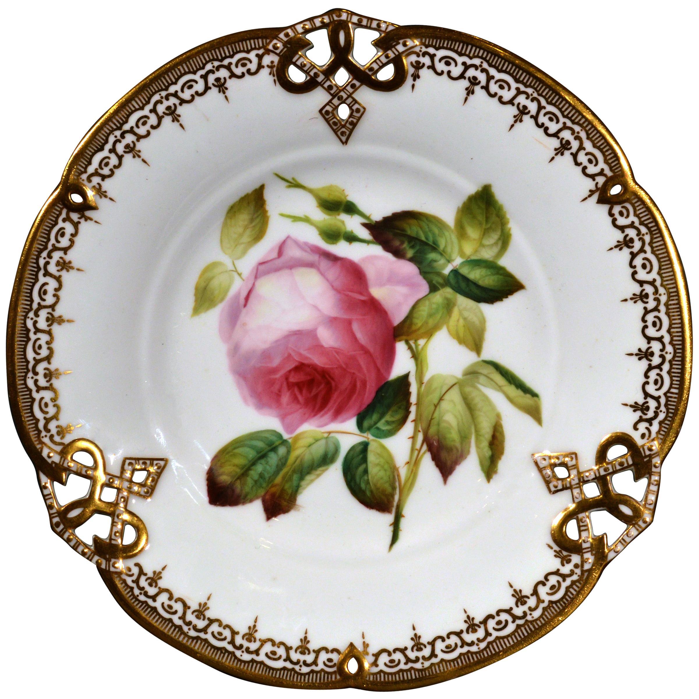 Minton Bone China Porcelain Botanical Specimen Plate of a Rose, Pattern #9762