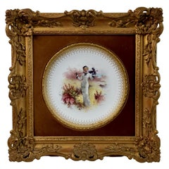 Minton Cabinet Plate in Italianate Gilt Frame, Lady in Dunes, A.Boullemier, 1882