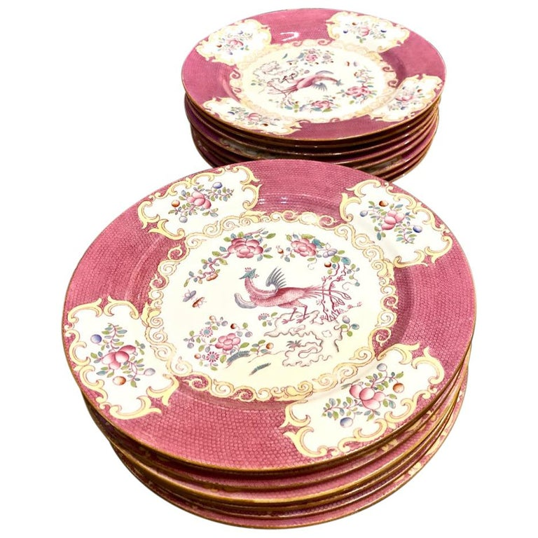 "Minton ""Cockatrice"" Dinner Plates in Pink For Sale"