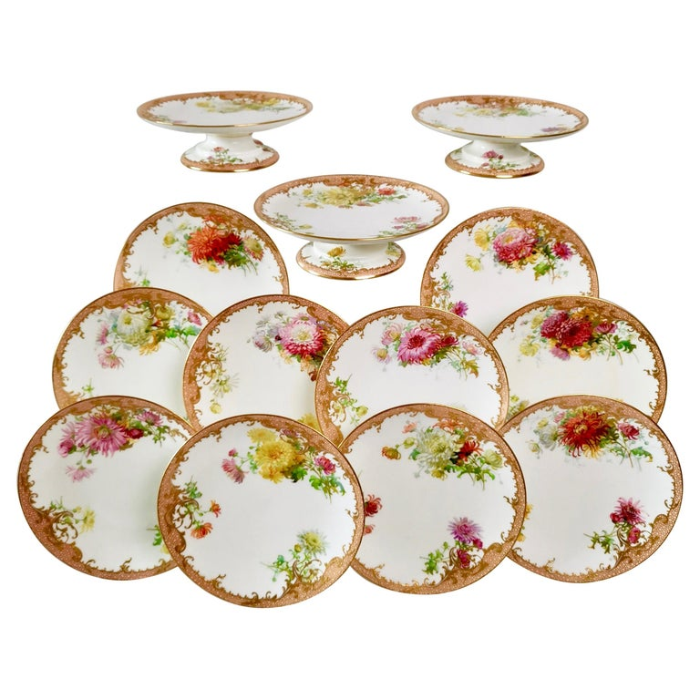 Minton Dessert Service, Signed by Anton Connelly, circa 1894 For Sale
