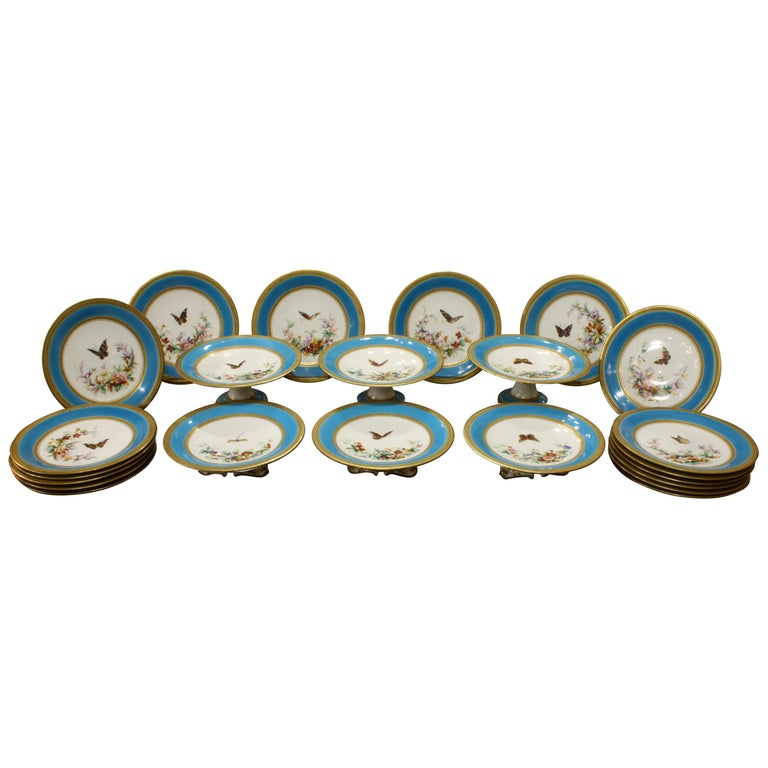 Minton Dessert Service with Butterflies and Flowers and Gold Rims For Sale
